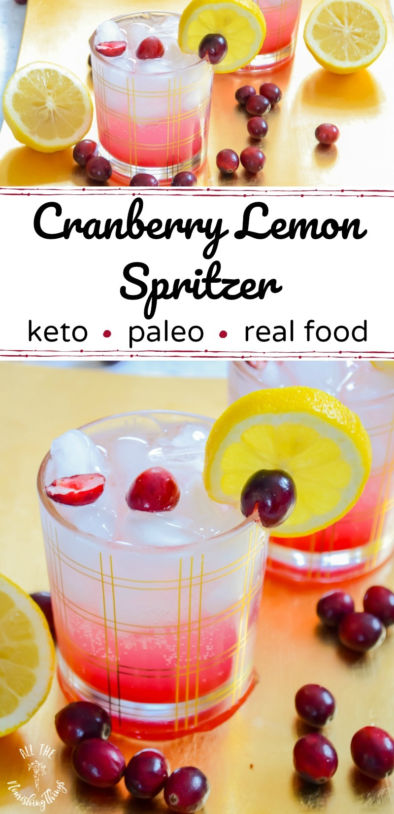 keto cranberry lemon spritzer drink with text overlay