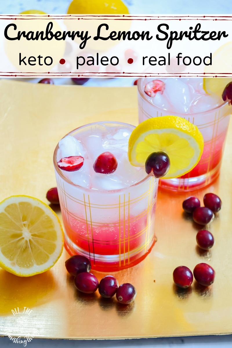 2 glasses of keto cranberry lemon spritzer with text overlay