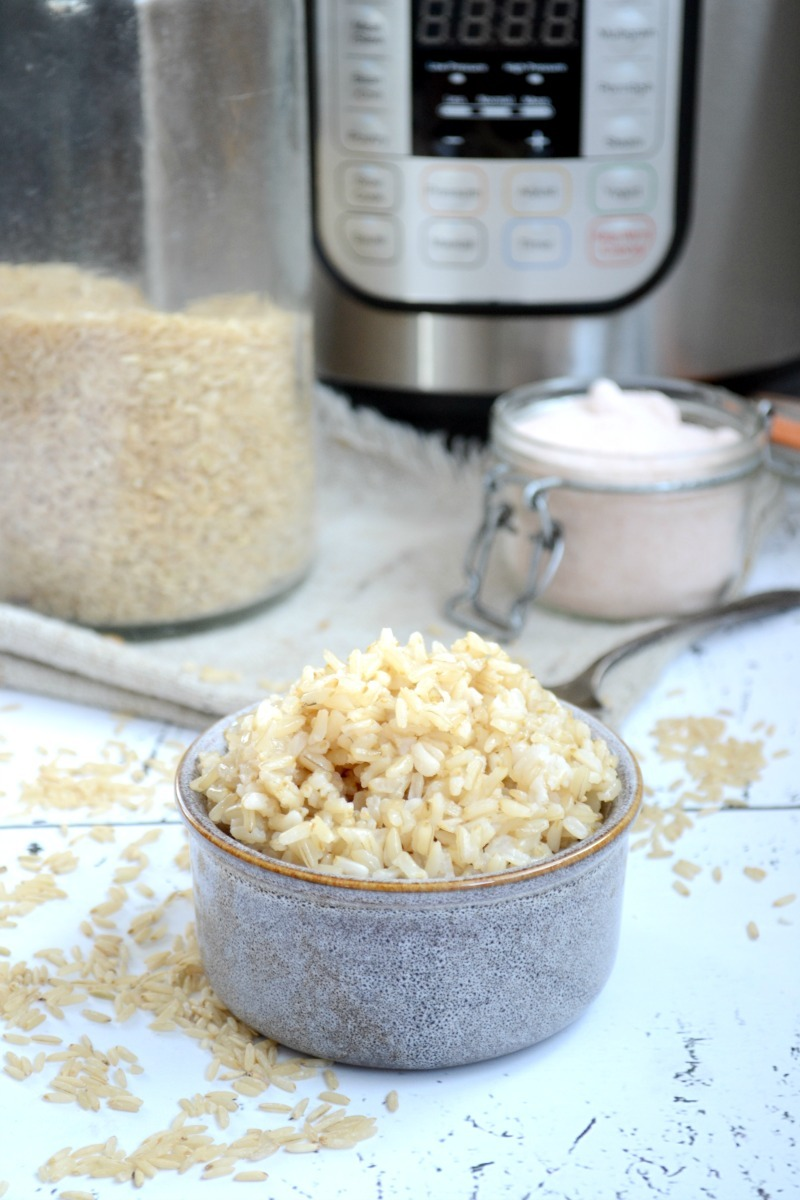 grey bowl of instant pot sprouted brown rice