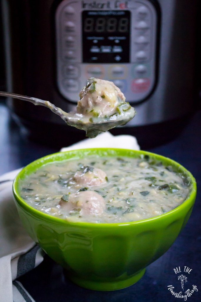 Instant Pot Spinach-Artichoke Meatball Soup (paleo, keto, Whole30)