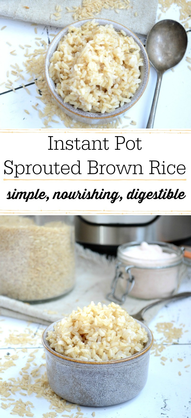 grey bowl of instant pot sprouted brown rice with text overlay