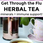 collage of images of pink china teacup with flu herbal tea