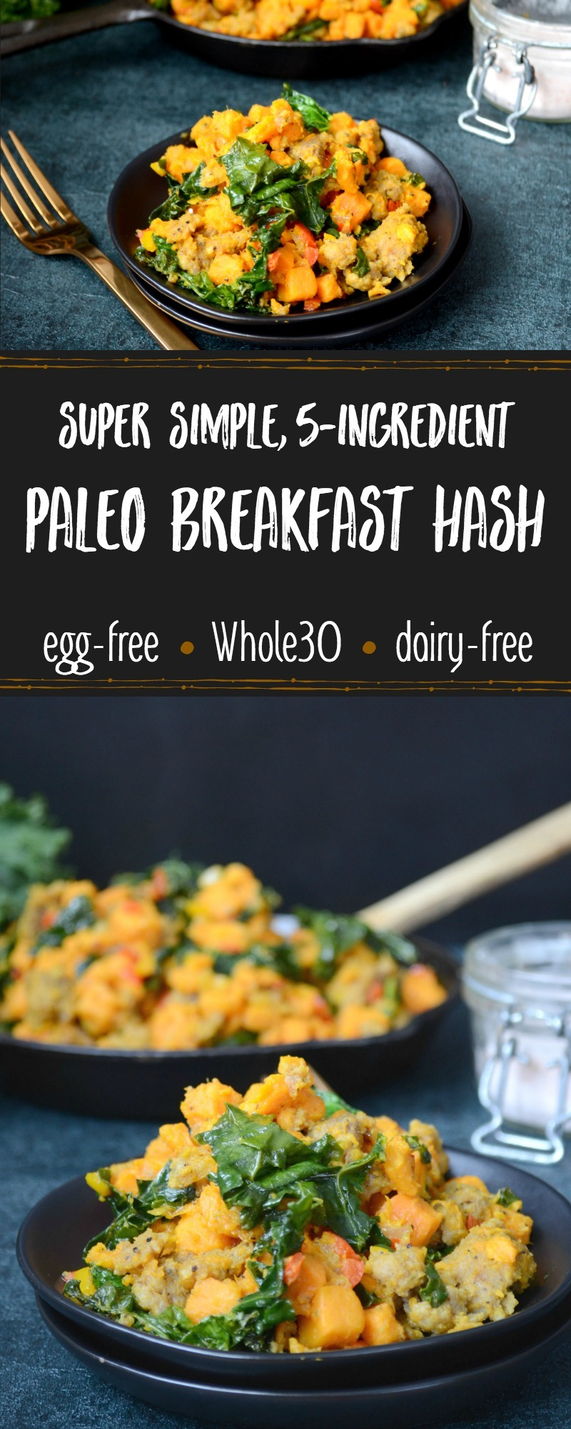 colorful breakfast hash with greens on a dark background and text