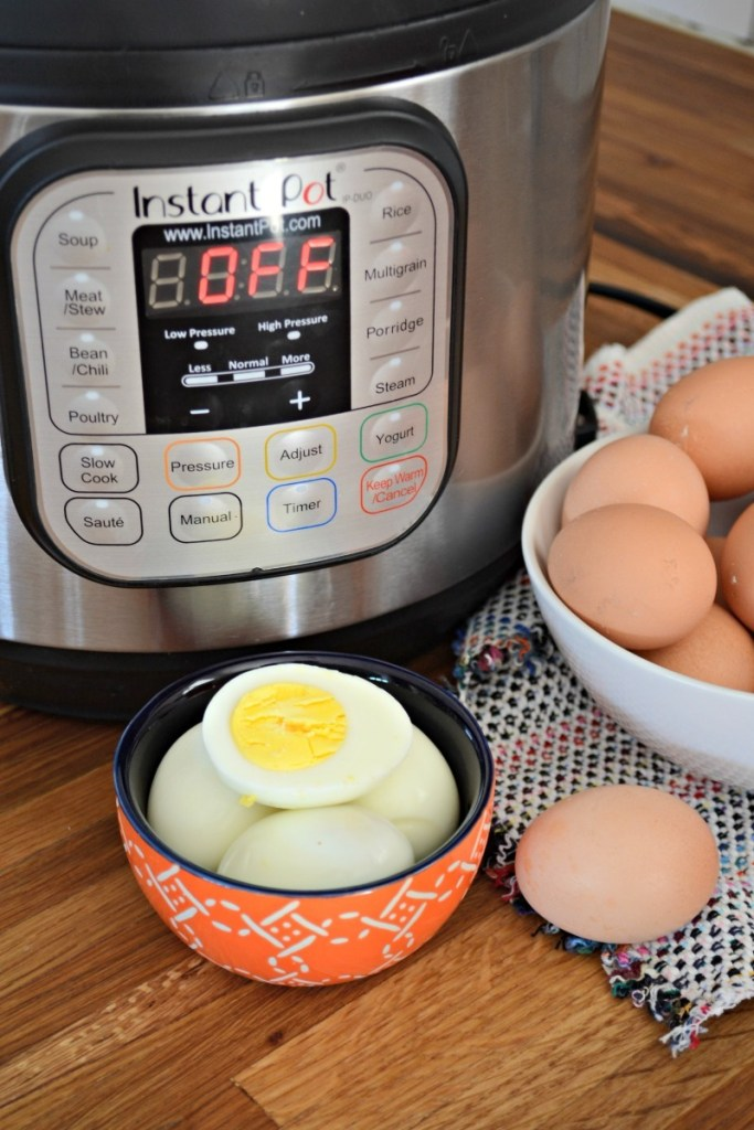 instant pot with hard boiled farm eggs