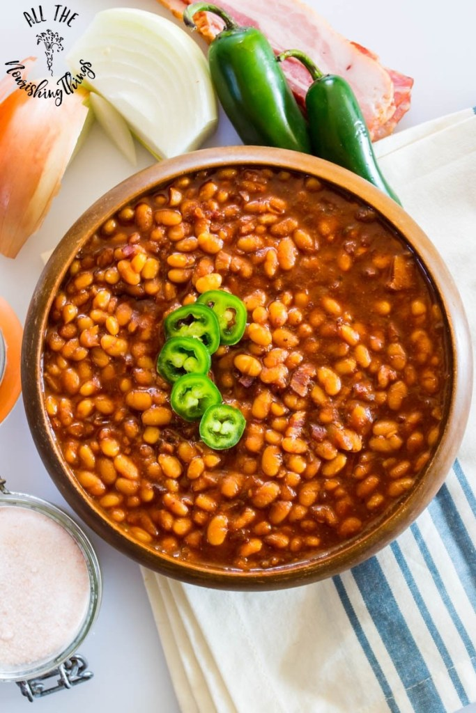 Instant Pot Bacon-Jalapeño Baked Beans {nourishing, soaked, refined sugar-free}
