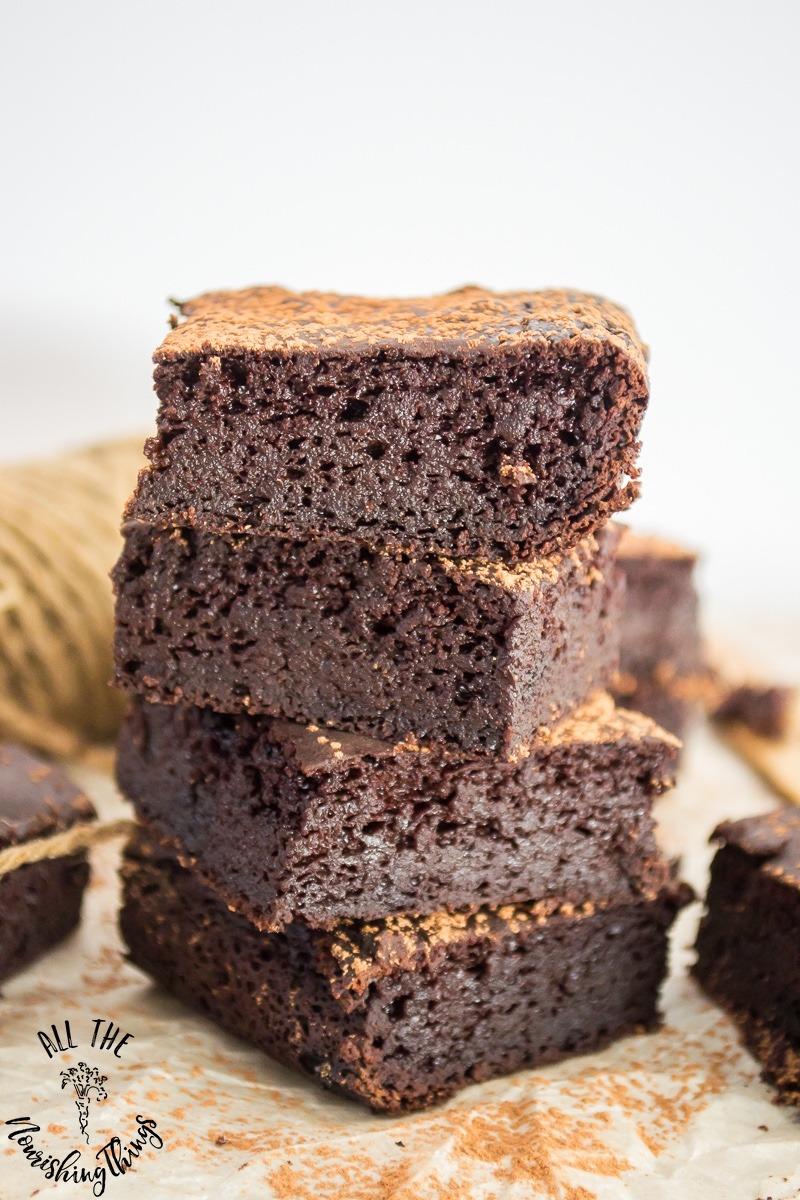 stack of best keto fudgy brownies