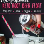 two images of keto root beer float with text overlay between images