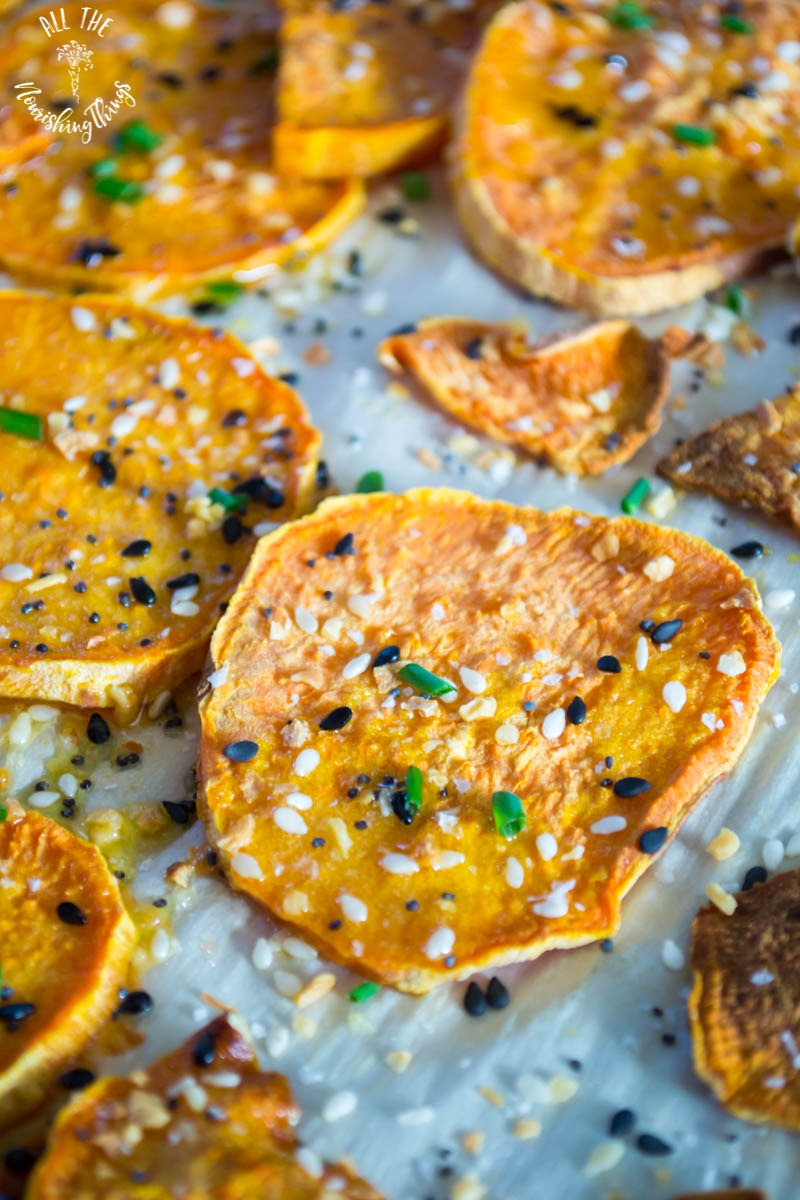 everything roasted sweet potatoes with chives