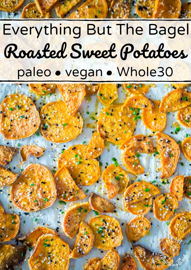 everything but the bagel seasoning roasted sweet potatoes with text overlay