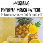 collage of 2 images of pineapple mango switchel with text overlay between images