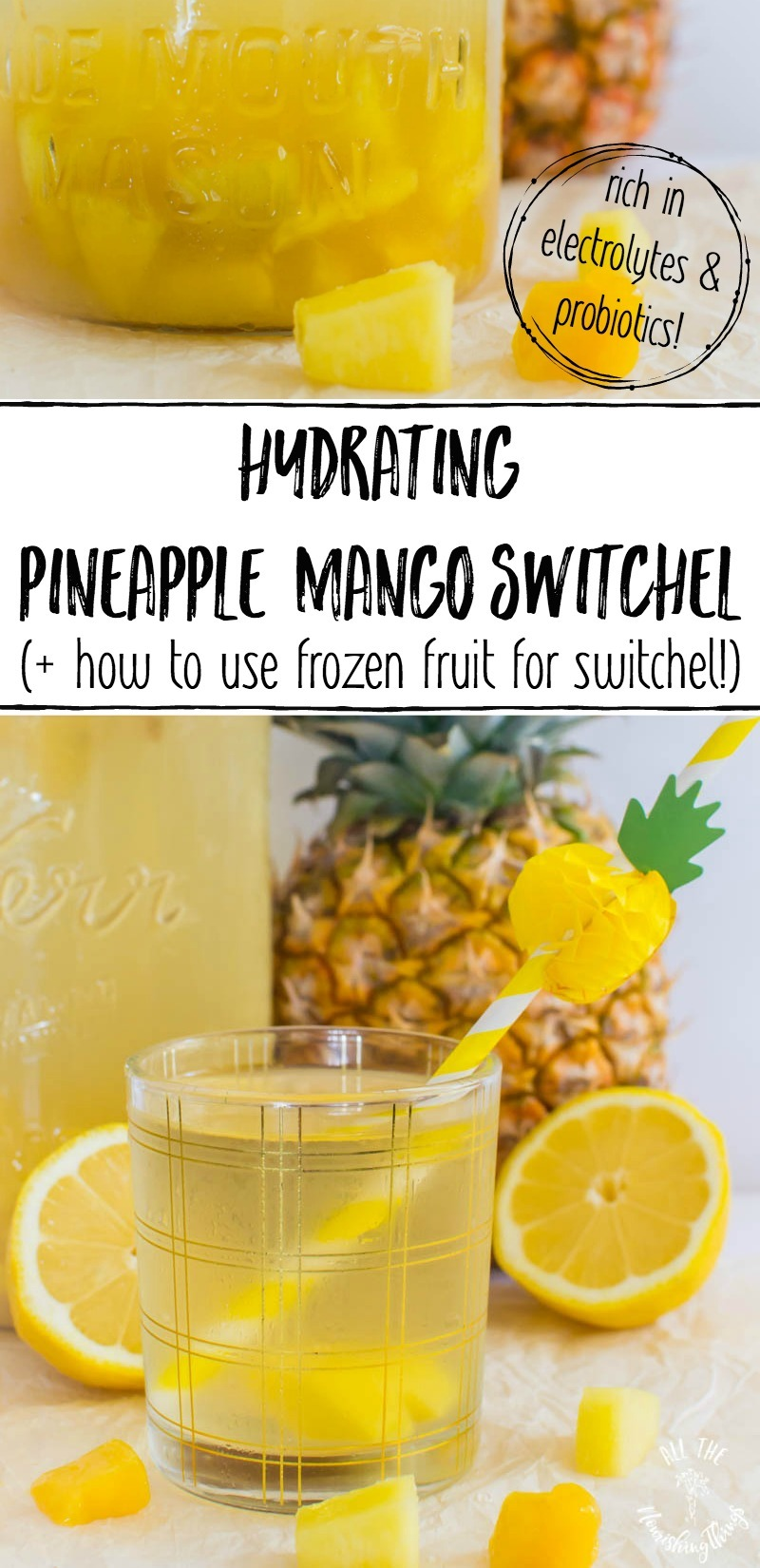 pineapple mango switchel with text overlay