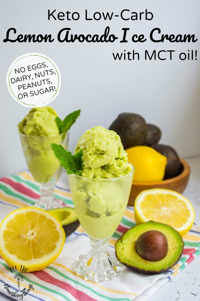 keto low-carb lemon avocado ice cream with mct oil and text overlay