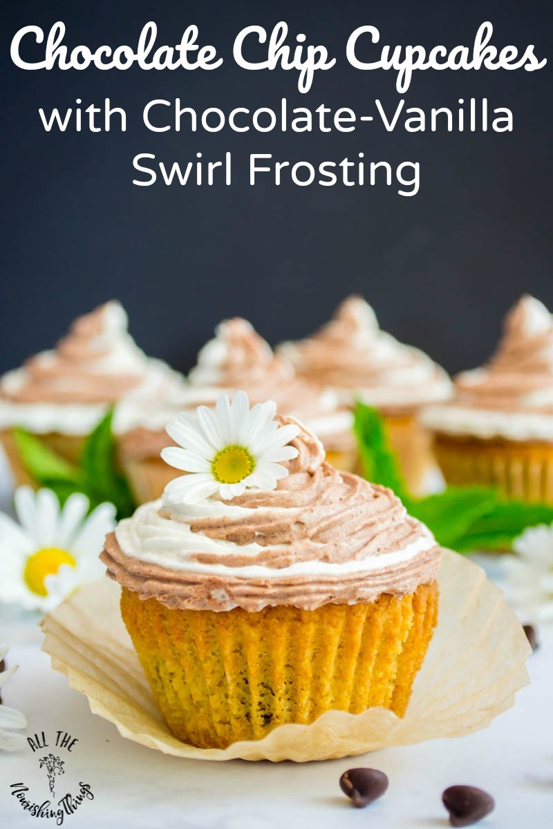 keto chocolate chip cupcakes with chocolate vanilla swirl frosting and text