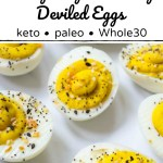 keto everything seasoning deviled eggs with text overlay