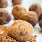 sprouted seed truffle sitting in cacao powder
