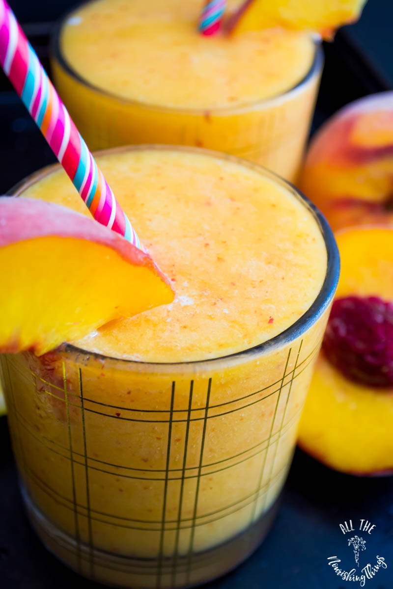 healthy vegan paleo peach slushie