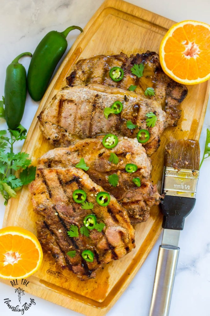 Orange-Ginger-Jalapeno Glazed Grilled Pork Chops (paleo & only 6 Real Food ingredients!)