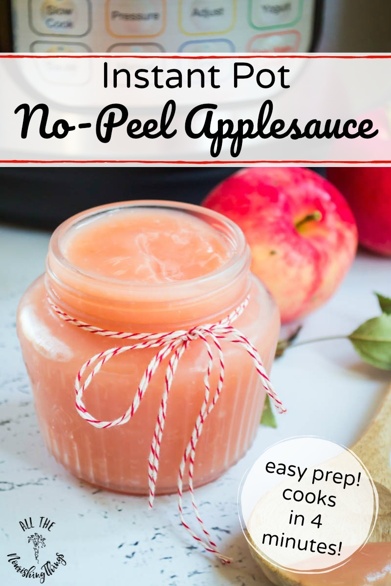 jar of instant pot no-peel applesauce with text overlay