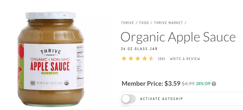 jar of thrive market organic applesauce