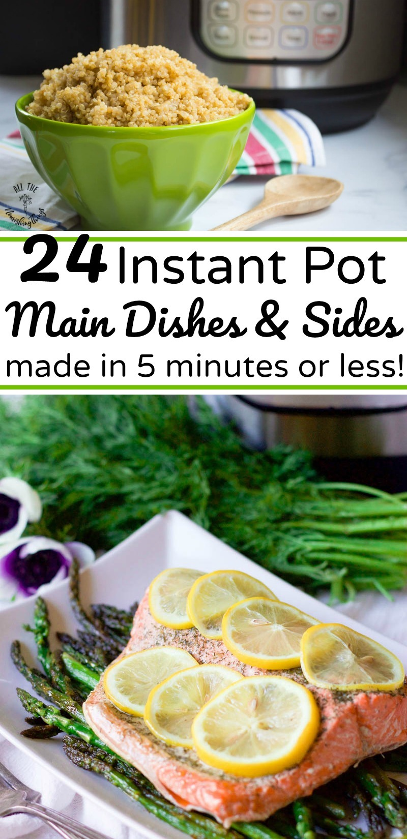 instant pot salmon and quinoa made in 5 minutes or less with text overlay