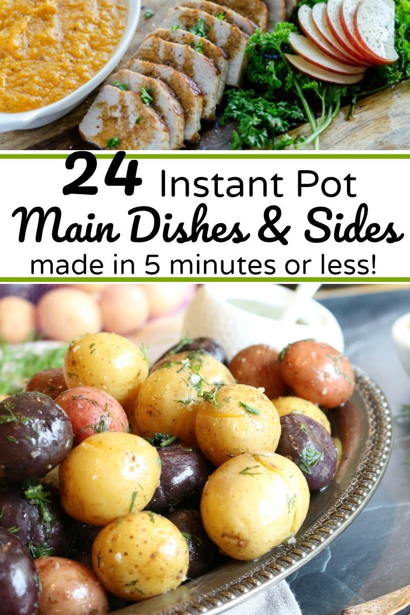 instant pot pork tenderloin over image of instant pot potatoes with text overlay