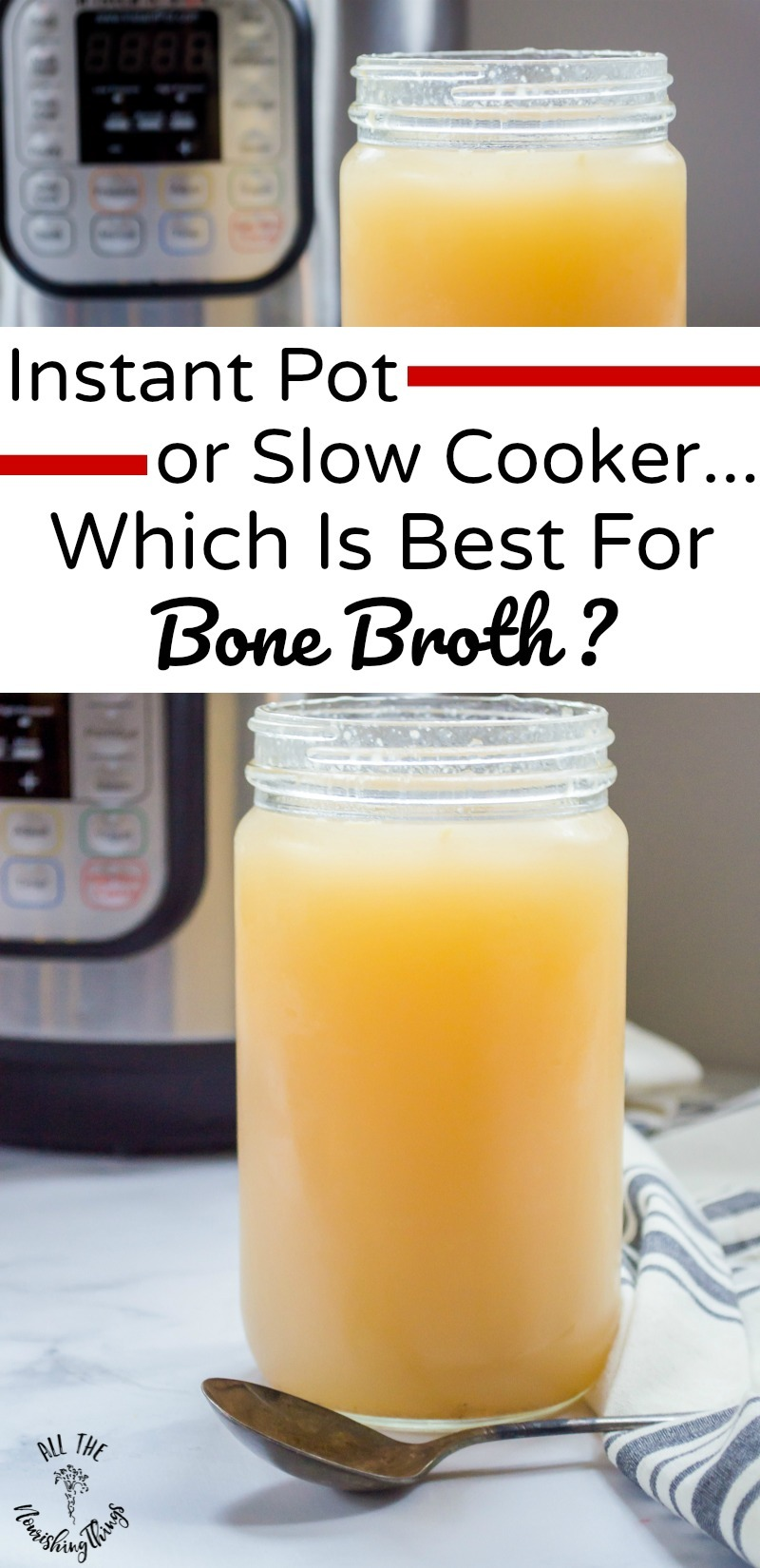 jar of instant pot bone broth with text overlay