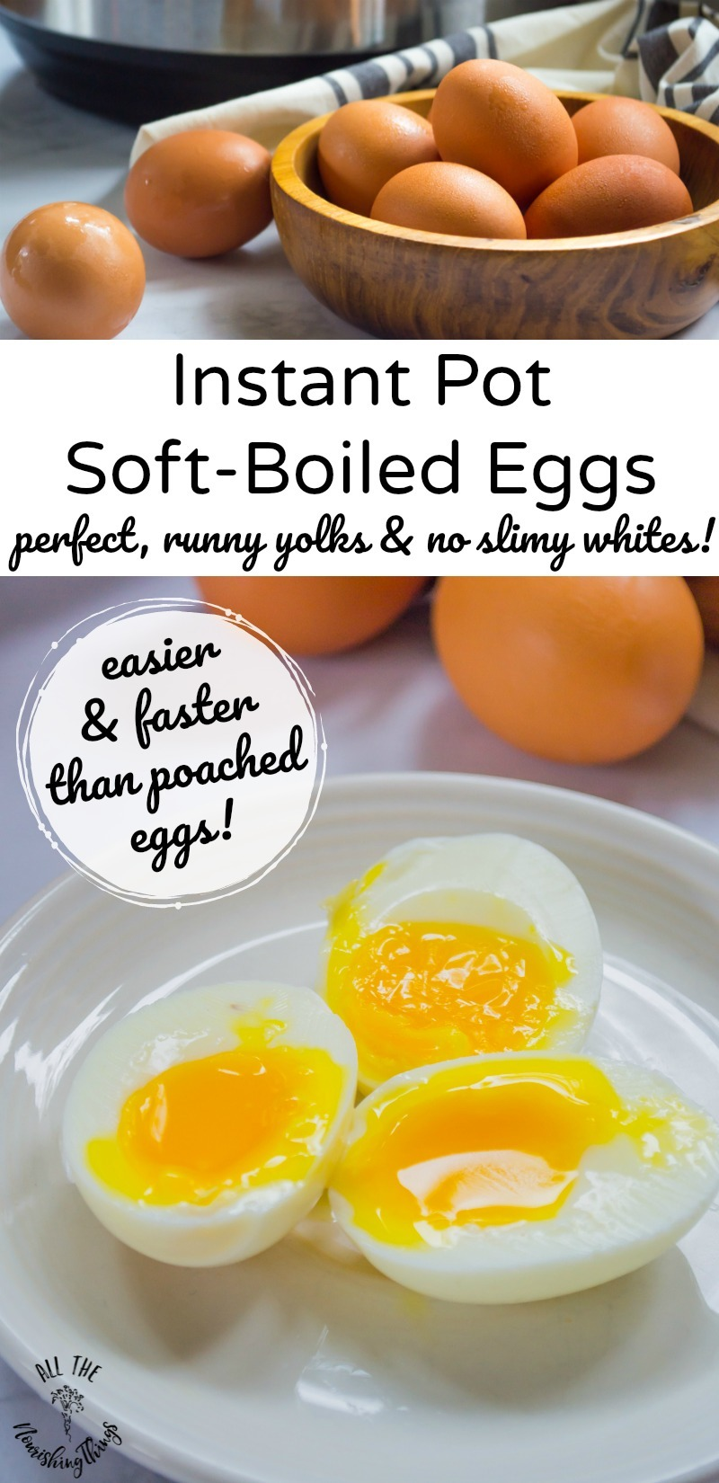 instant pot soft boiled eggs with text overlay