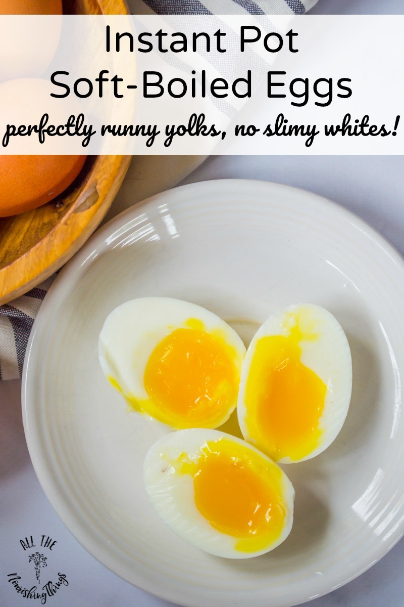 white plate with 3 instant pot soft-boiled eggs and text overlay