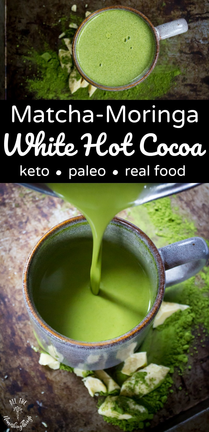 matcha-moringa white hot cocoa collage with text overlay