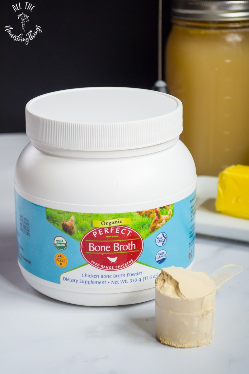 canister of Perfect bone broth protein powder