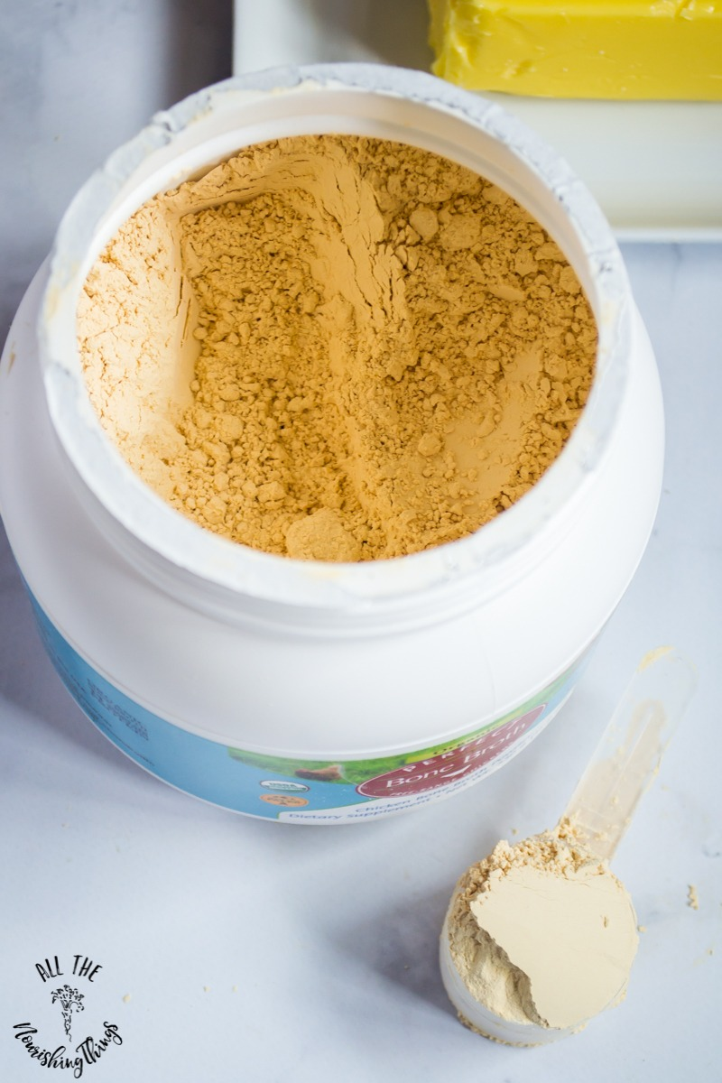 open canister of perfect bone broth protein powder