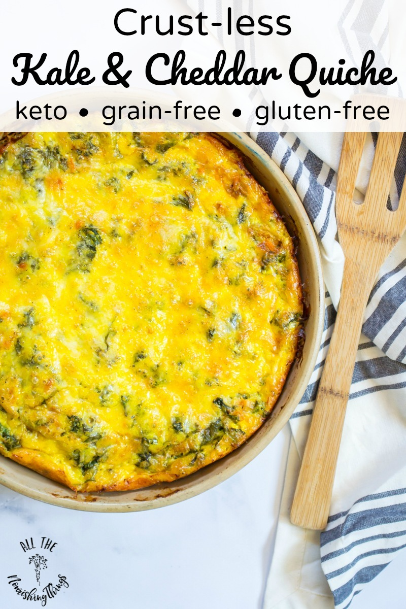 crust-less kale and cheddar quiche with wooden spatula and text overlay