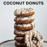 stack of keto chocolate coconut donuts with text