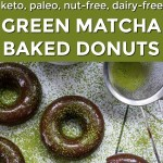 green matcha baked donuts with green and white text overlay