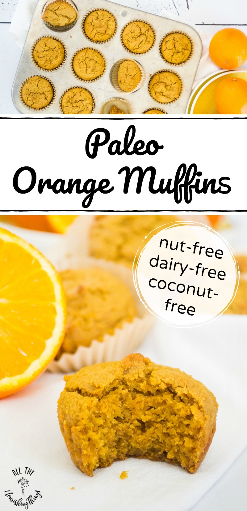 collage of images of paleo orange muffins with text overlay