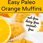 paleo orange muffins on white towel with sliced orange