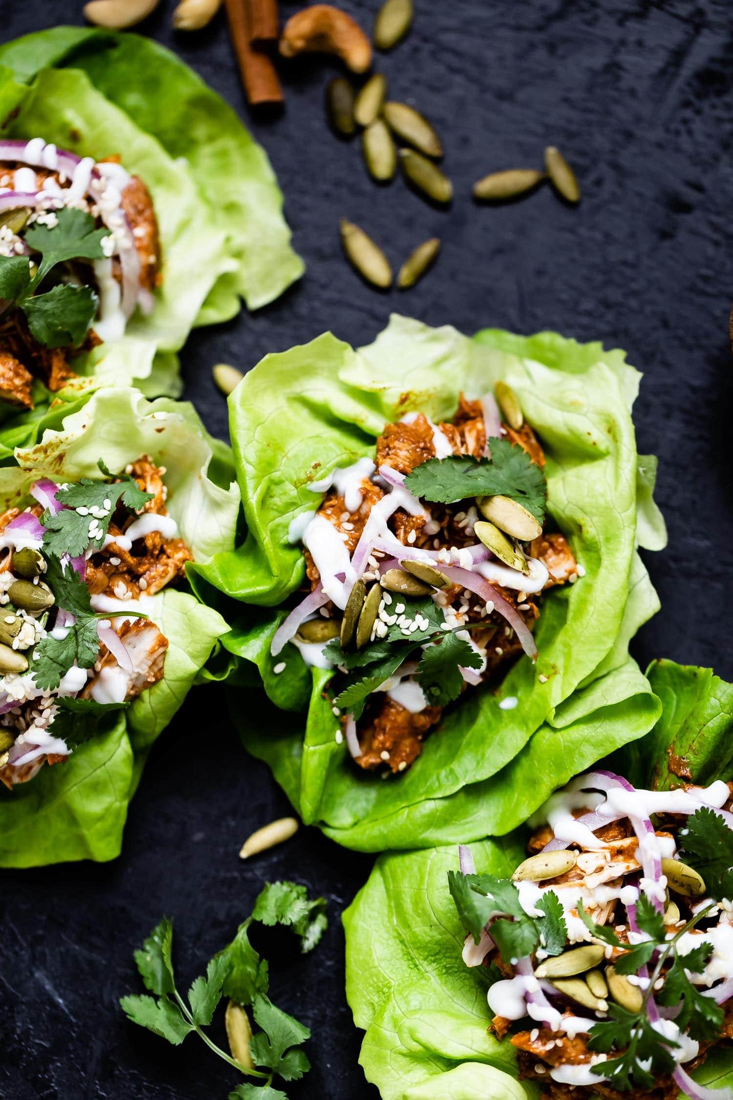 instant pot chicken mole tacos on lettuce