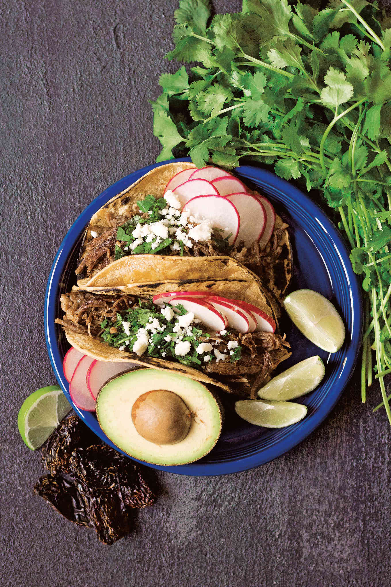 shredded chipotle beef tacos on blue plate with cilantro and radishes