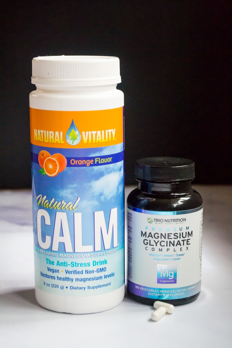 bottles of magnesium citrate natural calme and magnesium glycinate as ways to support gut health while taking anti-anxiety medication