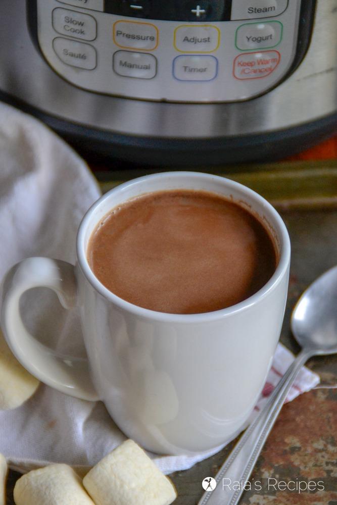 white mug of instant pot hot cocoa
