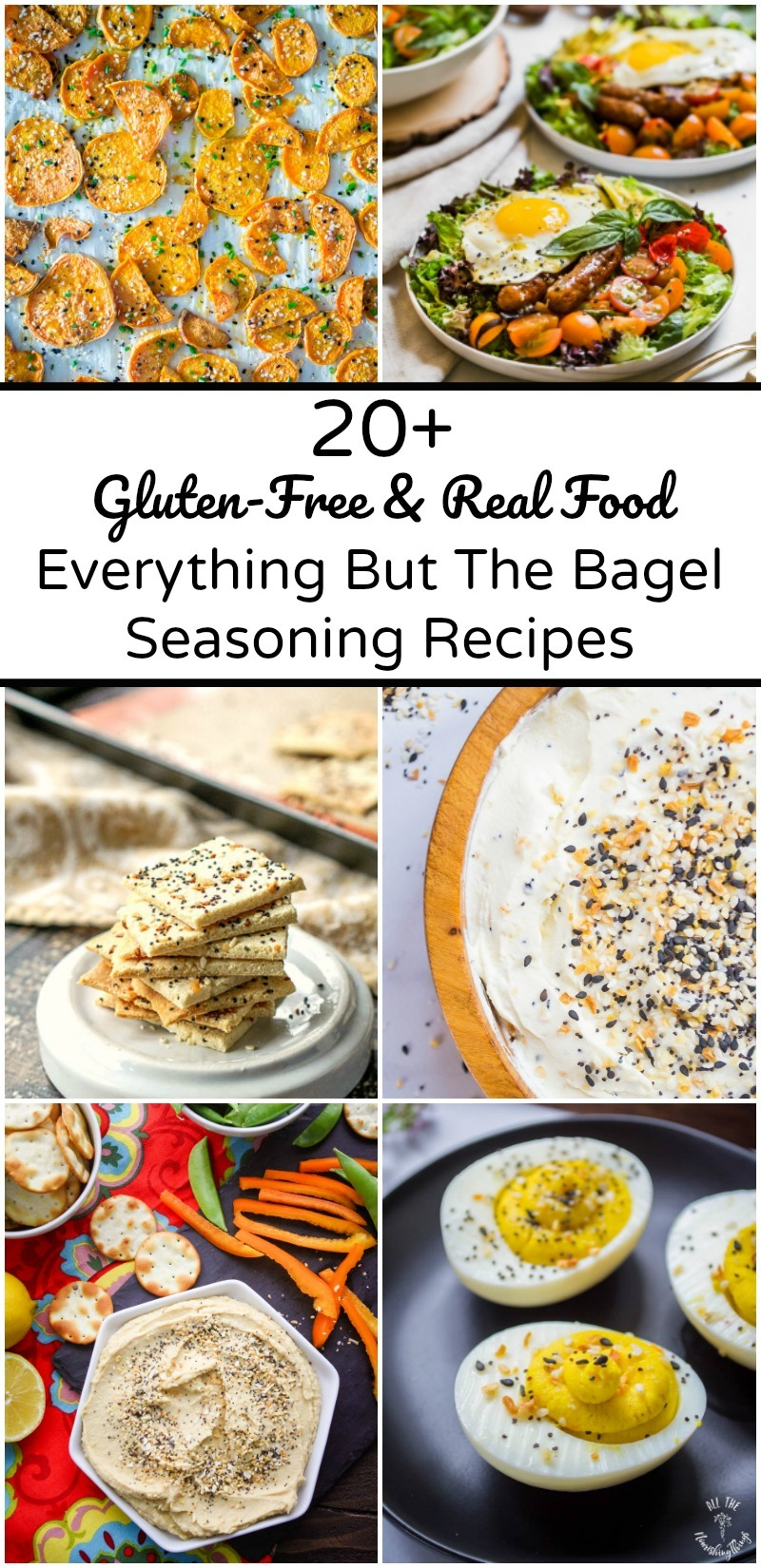 6 images of gluten-free everything but the bagel seasoning recipes with text overlay between the images