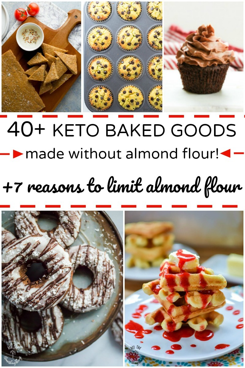 keto baked goods made without almond flour collage of images with text overlay