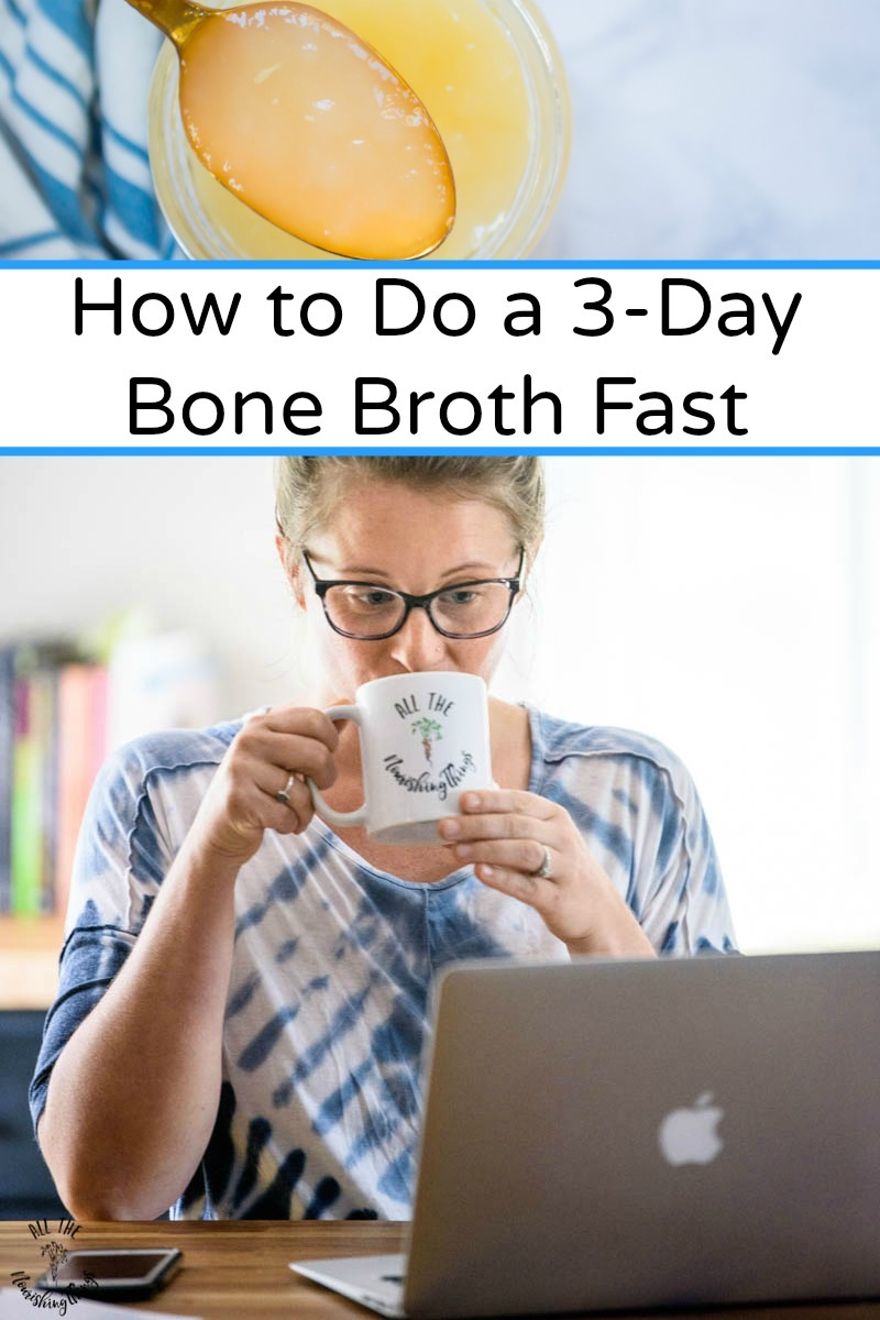 spoon of bone broth over an image of a woman wearing glasses drinking a mug of bone broth