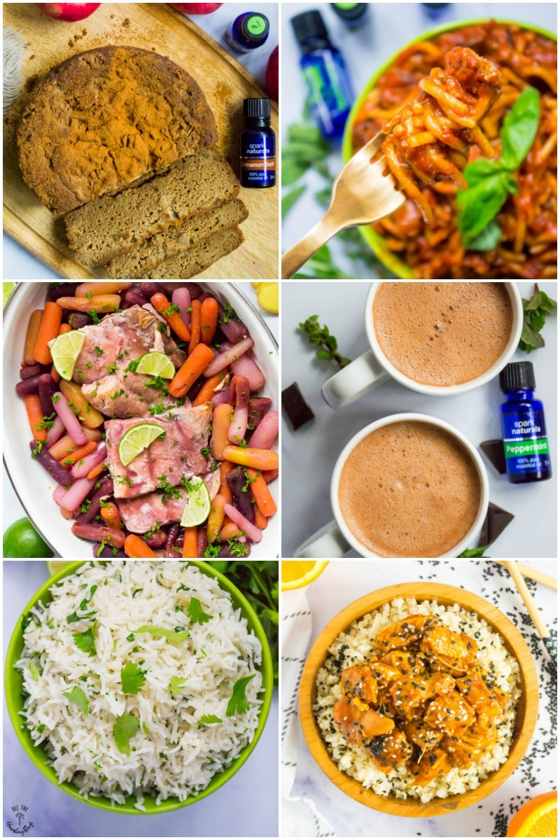 collage of colorful instant pot recipes with essential oils