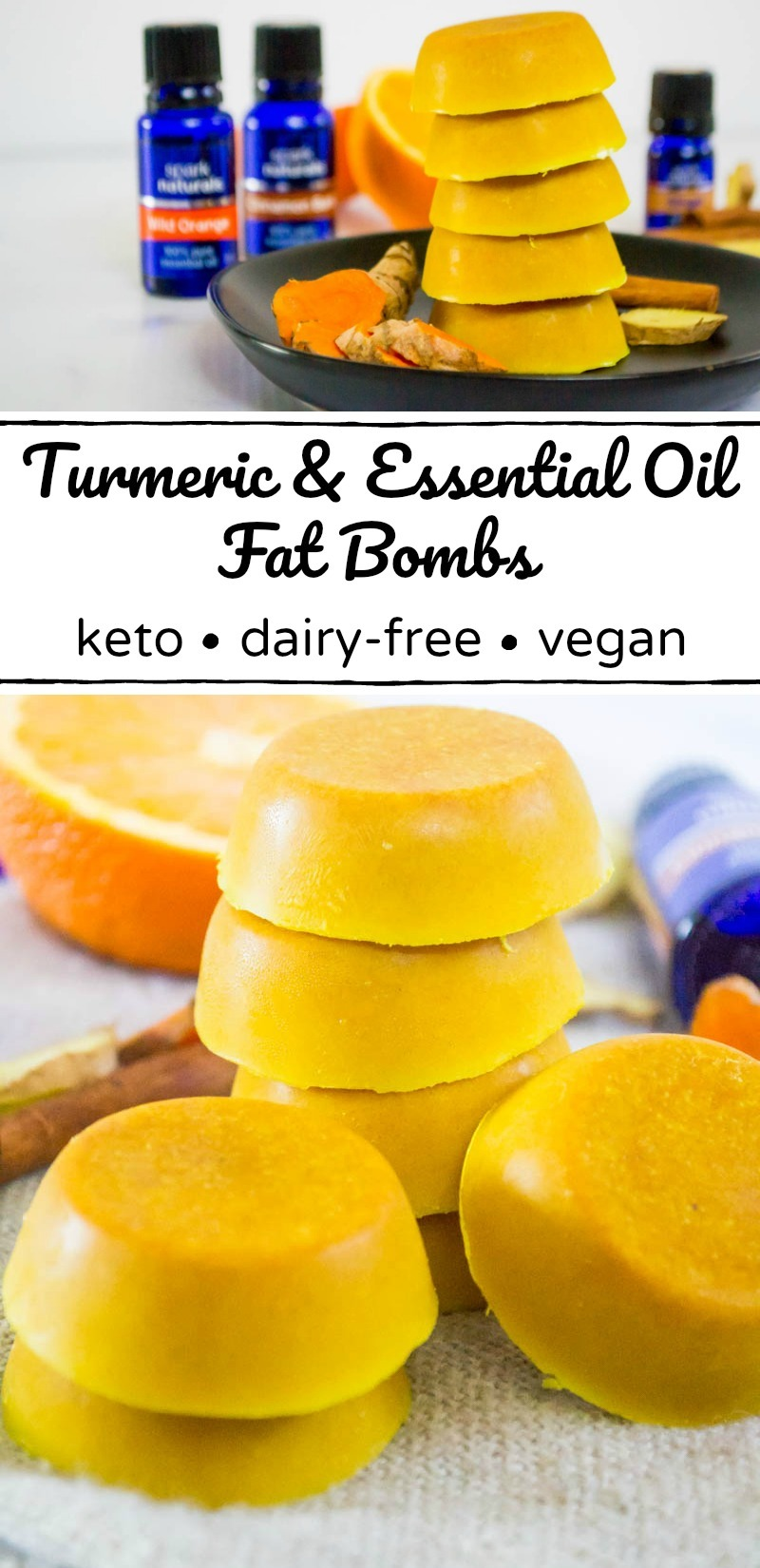 stack of yellow turmeric and essential oil fat bombs with text overlay