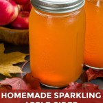 Pin image of homemade sparkling apple cider in jars