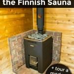Harvia wood stove in a modern Finnish sauna in Minnesota