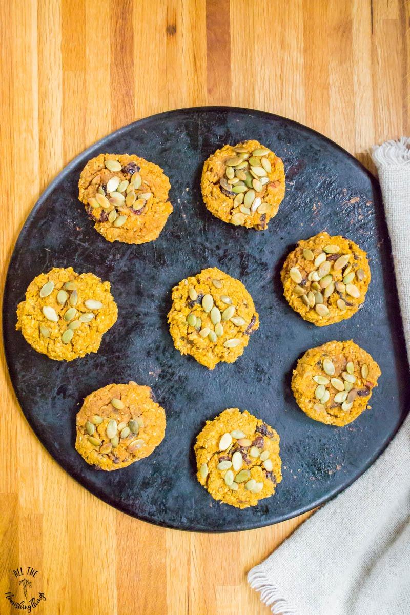 easy pumpkin breakfast cookies on a black baking stone