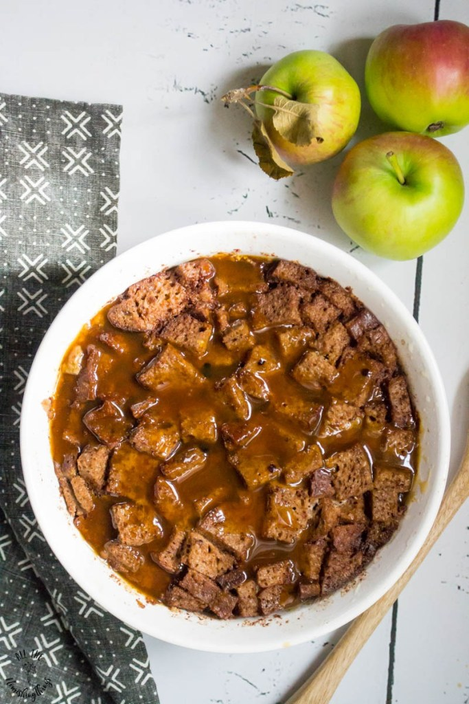 Instant Pot Apple Cider Sourdough Bread Pudding (gluten-free, dairy-free, nut-free) — with a salted caramel apple sauce!