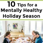 happy family eating a holiday meal for a post on tips for a mentally healthy holiday season
